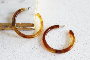 Jillian Tortoise Shell Lucite Hoop Earrings