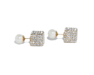 London Double Pearl Cube Earrings