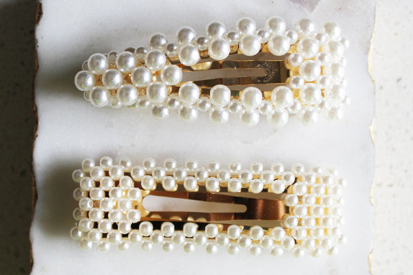 Pearl Barrette Duo
