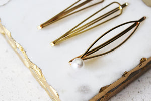 Pearl Geometric Bobby Pin Set