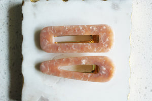 Pink Marble Clip Set