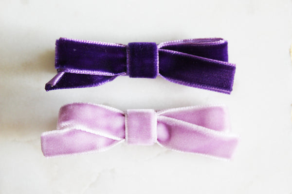 Purple Velvet Bow Set