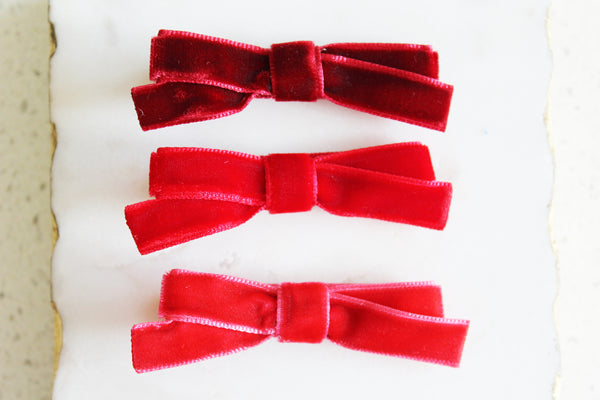 Red Velvet Bow Set