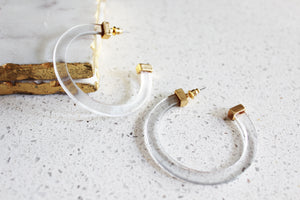 Reese Clear Lucite Hoop Earrings