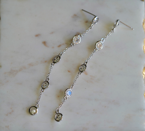 Marie Linear Stone Drop Earrings