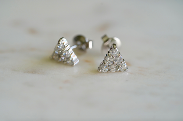 Maxine Pavé Triangle Stud Earrings