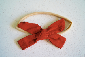 Linen Bow Nylon Headband