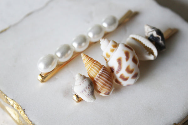 Seashell & Pearl Bobby Pin Set