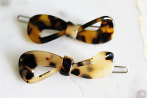 Tortoise Shell Bow Clip Set