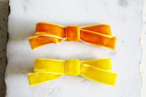 Yellow Velvet Bow Set