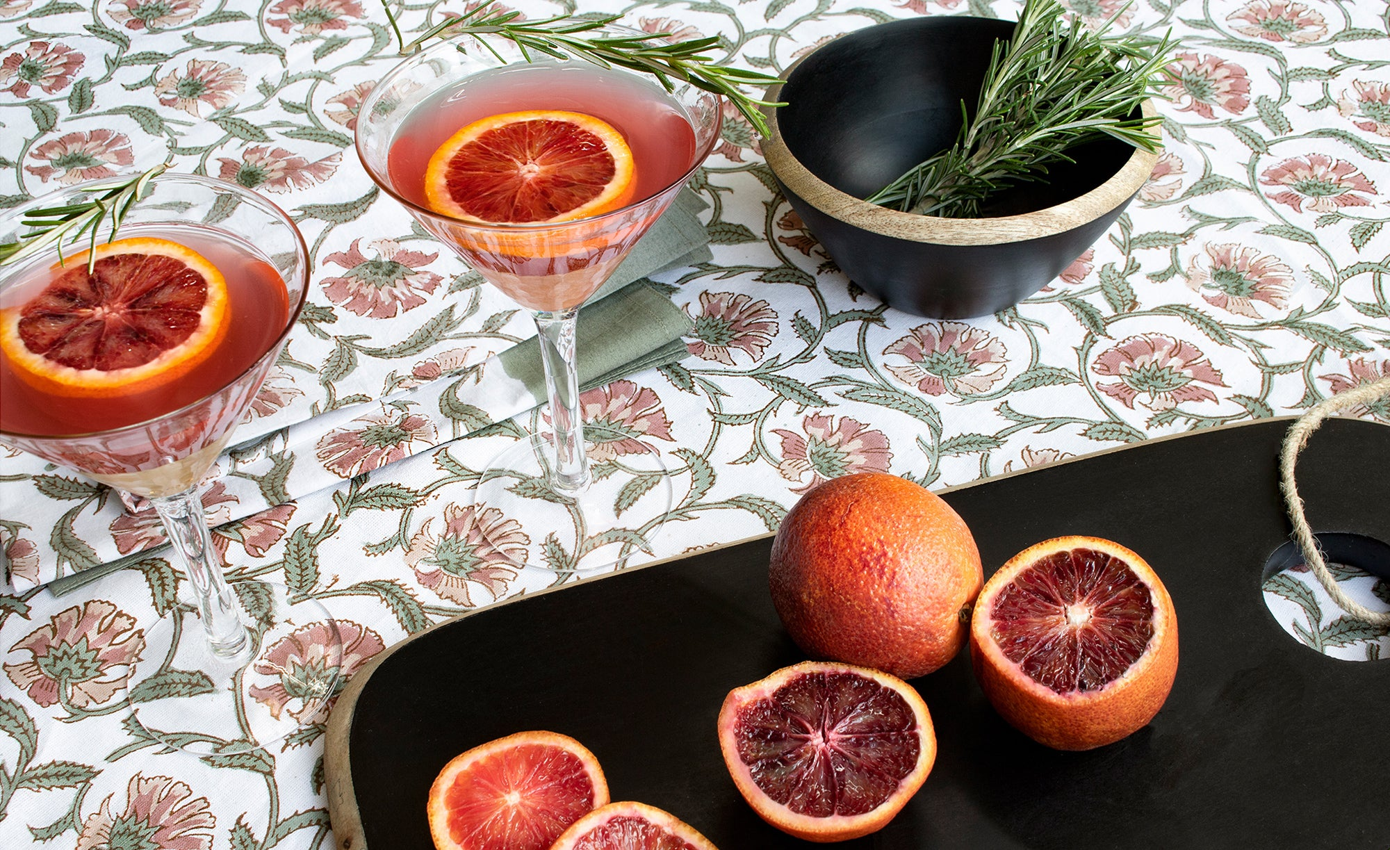 L&M Home Blood Orange and Rosemary Martini