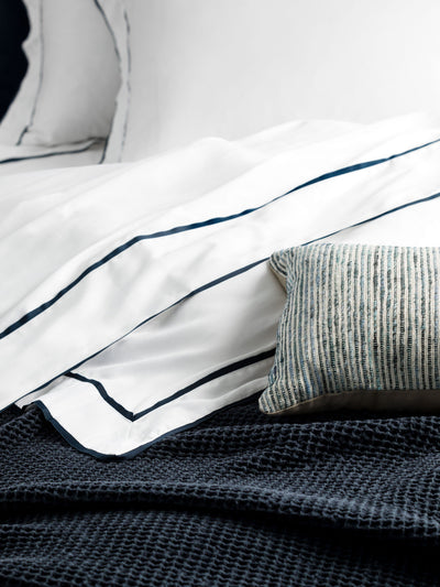 Grosgrain Navy Sheet Set Sheet Set L&M Home