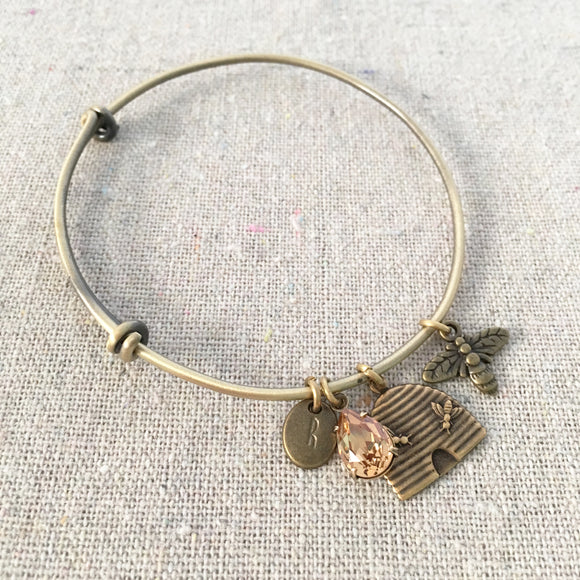 Heatherly Jewelry Honey Bee Bangle Charm Bracelet