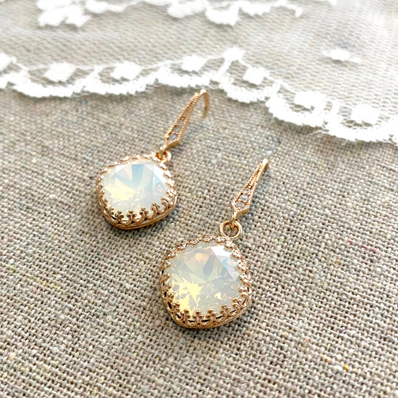 Large Cushion Crown Pavé Dangling Earrings