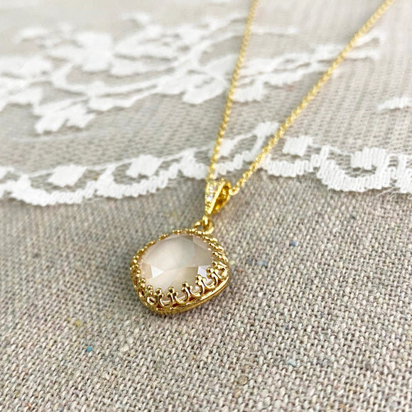 Large Cushion Crown Pavé Necklace