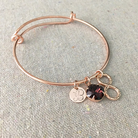 Adjustable Initial Bangle Bracelet