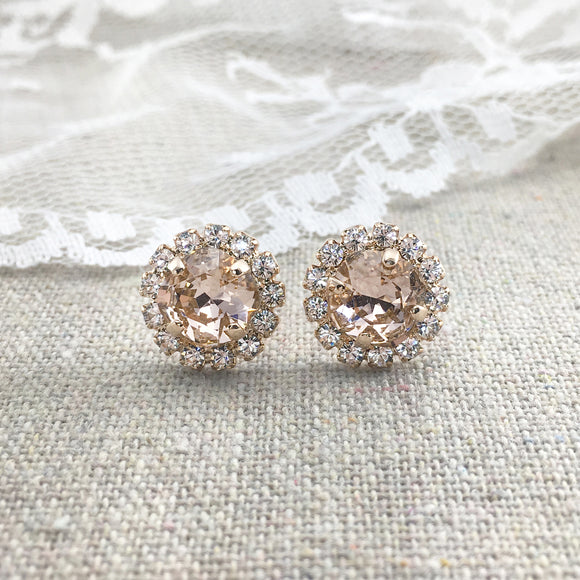Faux Morganite Blush Pink Rose Gold Cushion Swarovski Crystal Post Earrings