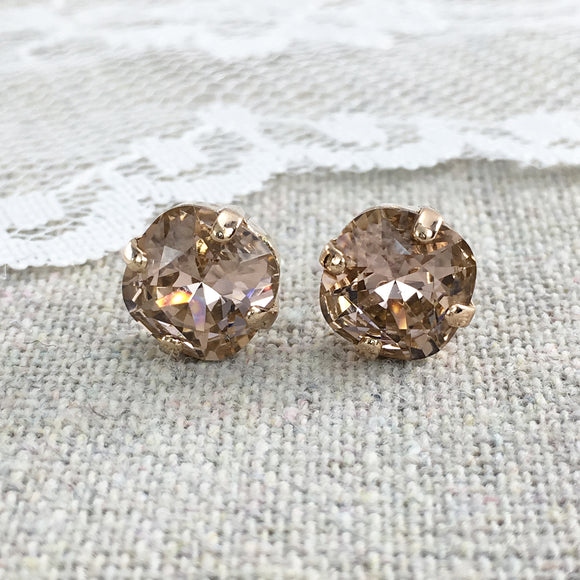 Swarovski Crystal Morganite Cushion Post Earrings