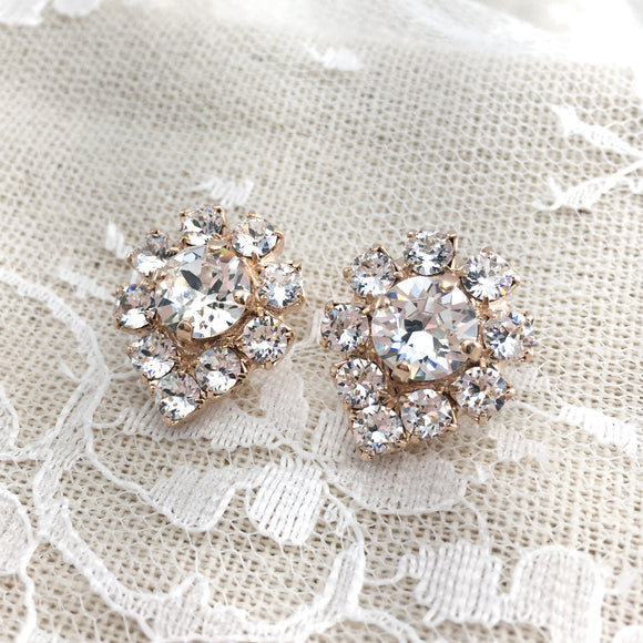 Heatherly Jewelry Old Hollywood Swarovski Crystal Rose Gold Earrings