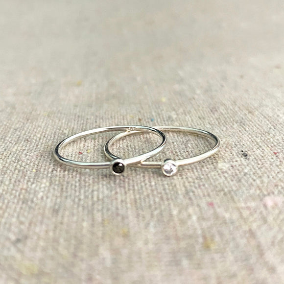 Micro Stone Stacking Ring • Sterling