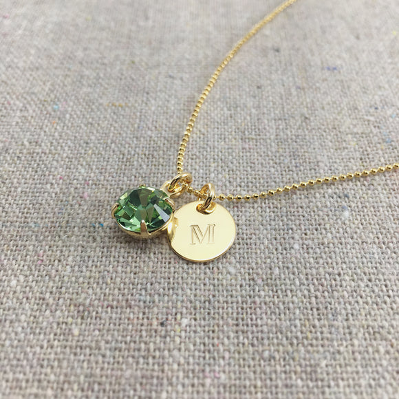 Swarovski Crystal Birthstone Necklace Monogram Initial Charm by Heatherly Jewelry