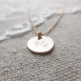 Monogram Initial Coin Necklace Rose Gold
