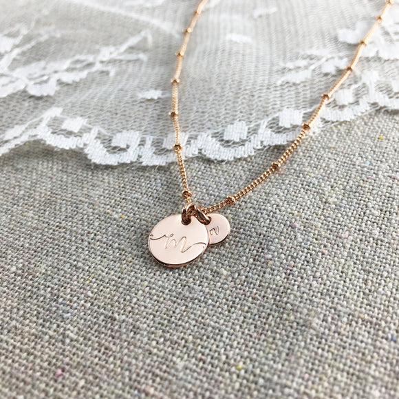 Monogram Mother Baby Rose Gold Personalized Necklace