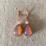 Pink Glass Opal Earrings