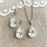 Medium Taper Pavé Necklace & Earrings • Crystal