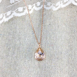 Blush Pink Rose Gold Swarovski Crystal Necklace