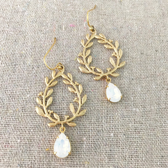 Tiny Taper Laurel Wreath Drop Earrings