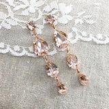 Triple Taper Extra Long Earrings • Blush Pink