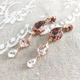 Extra Long Dangling Swarovski Crystal Post Earrings Blush Pink Dusty Rose
