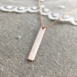 Rose Gold Vertical Bar Name Necklace Heatherly Jewelry