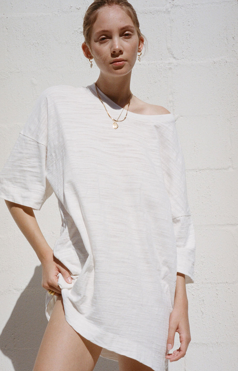 Slub Tee Dress White