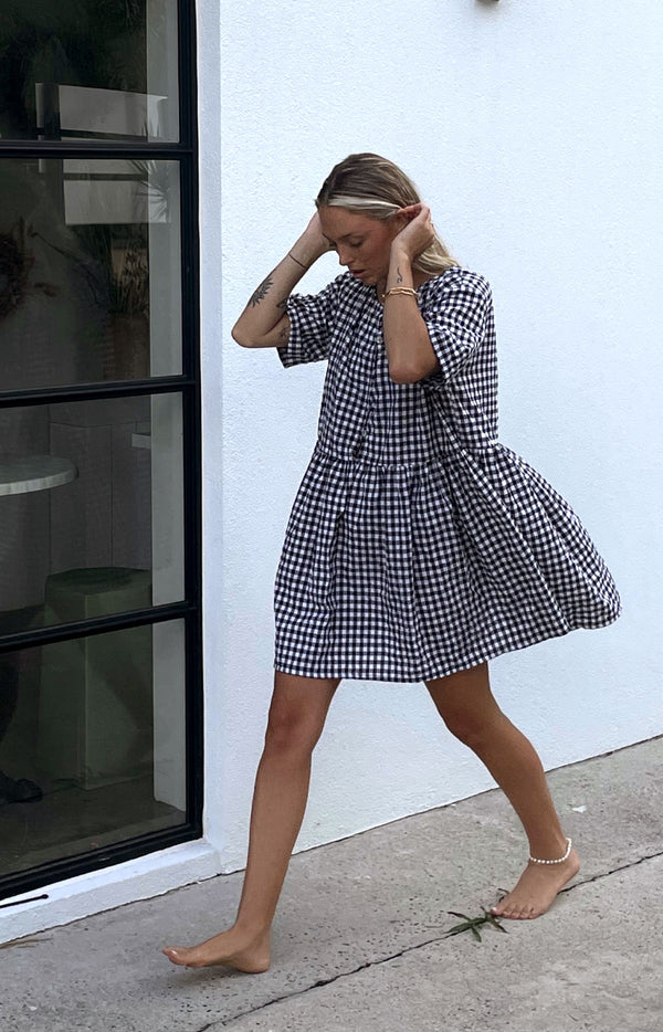 Darcey Gingham Dress Black ( PRE ORDER)