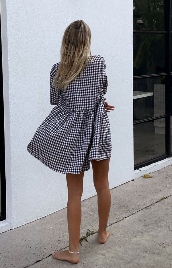 Darcey Gingham Dress Black (PRE ORDER)