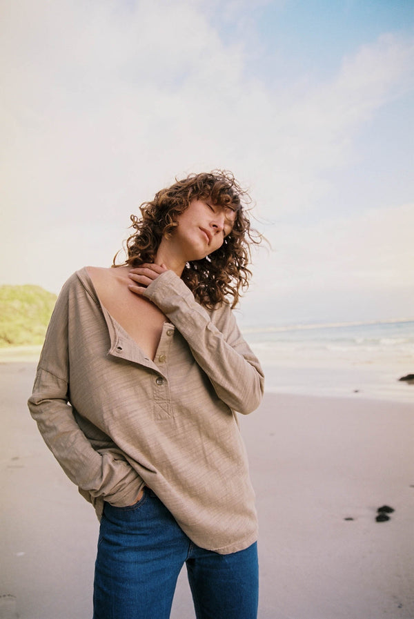 Henley Long Sleeve Sand