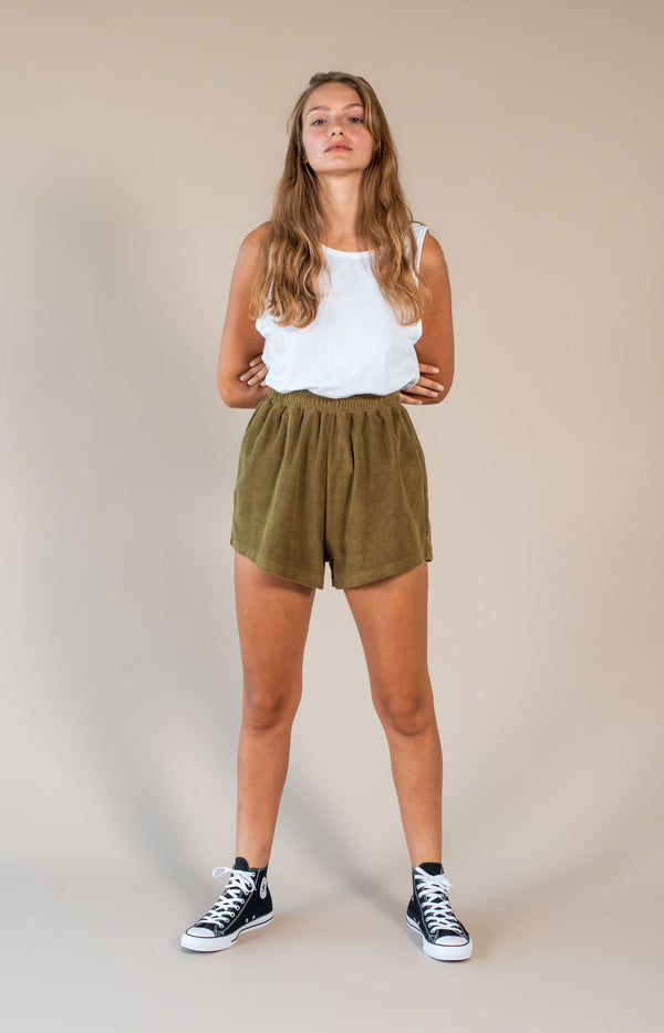 Terry Towelling Short Olive Green