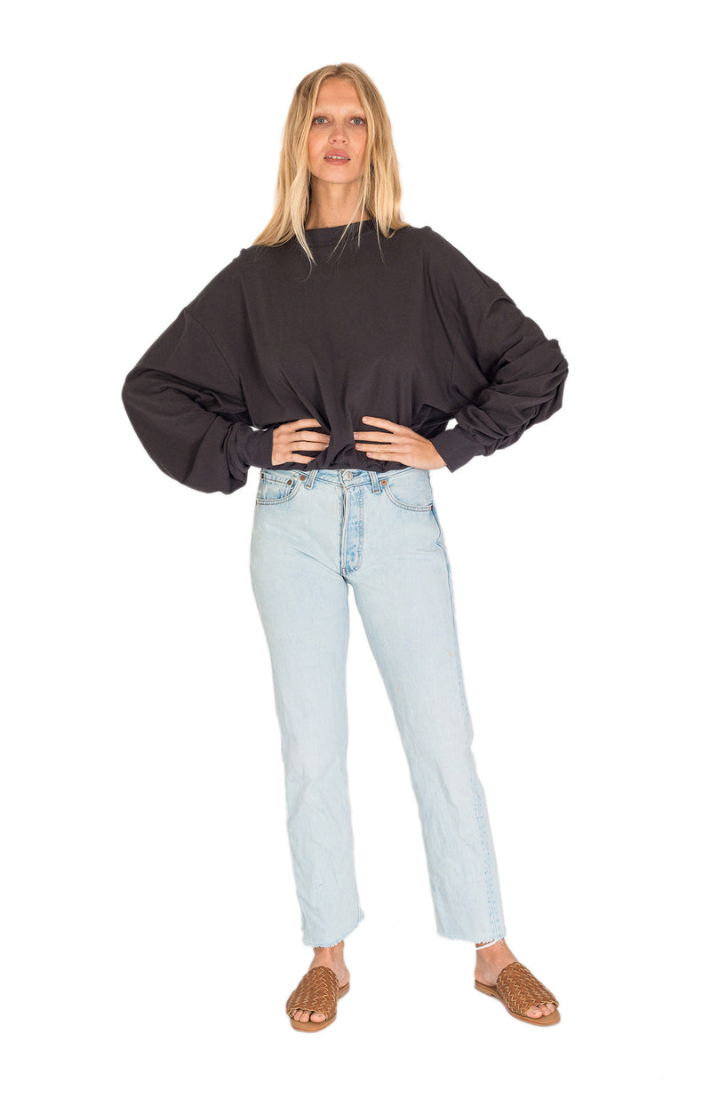 Zoey Hemp Slouch Sweater Charcoal