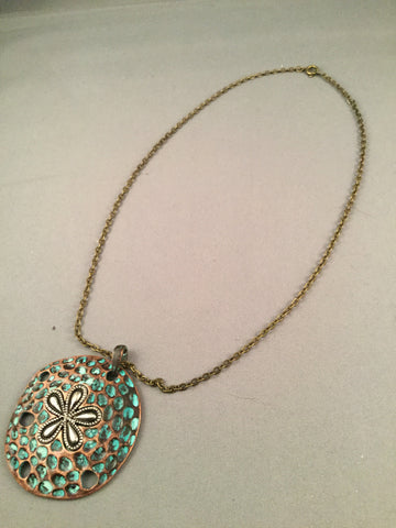 Antique Gold Chain with Large Antique Metal Pendant with Turquoise
