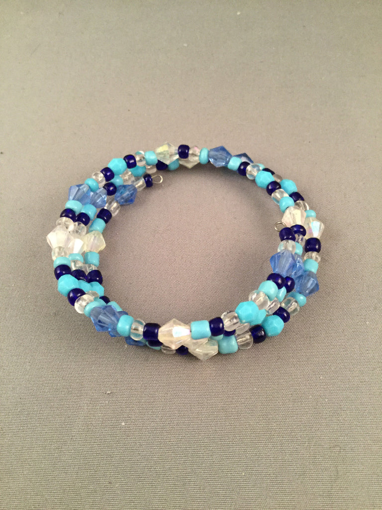 navy blue, turquoise and clear coned memory bracelet