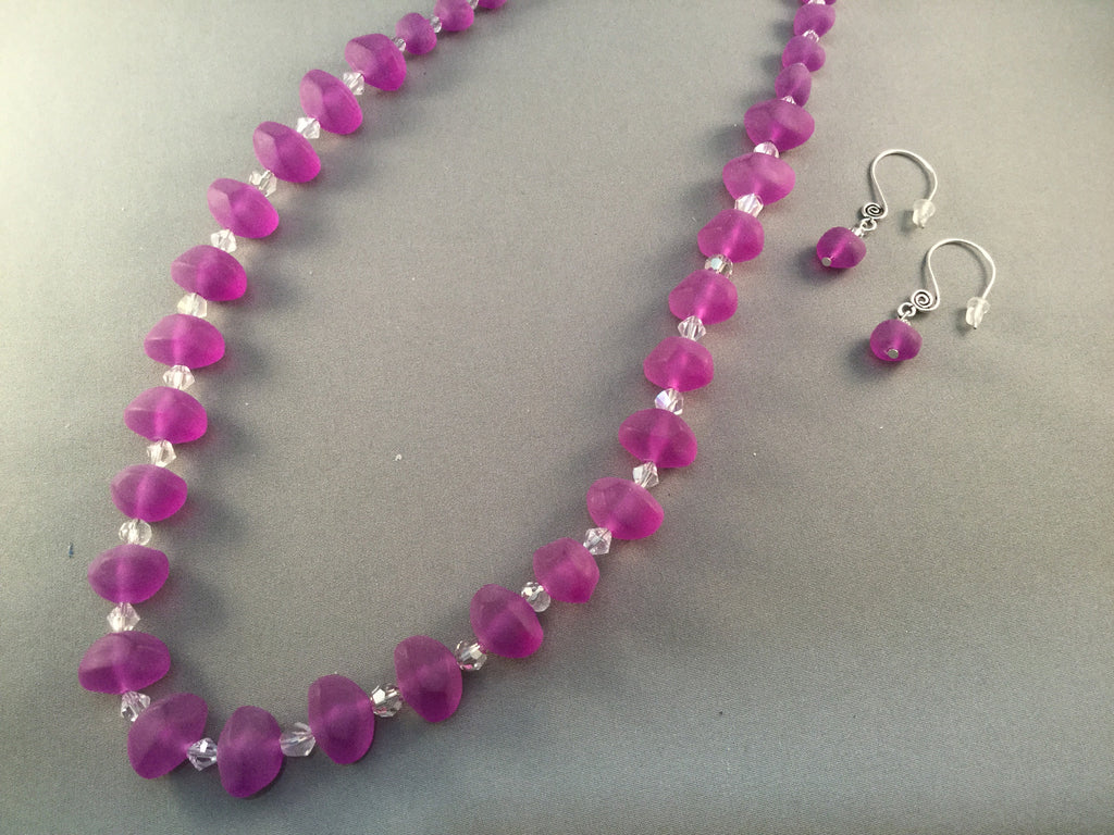 Lilac Beaded Necklace Set