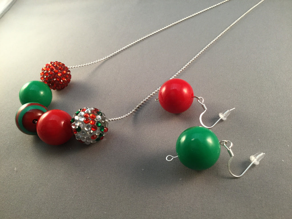 Holiday Green and Red Large Beaded Necklace