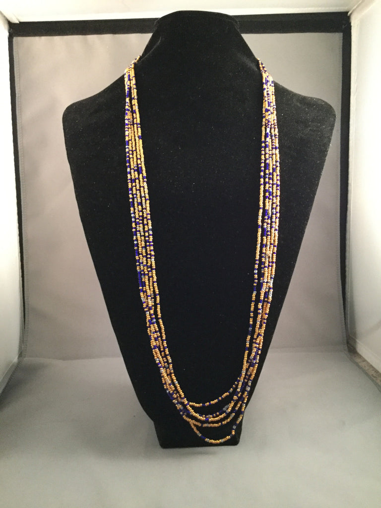 Orange and Blue mini Seed Beaded Necklace Set with 5 Strands