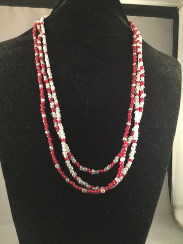 3 Stranded Necklace Set of Red and White seed beads
