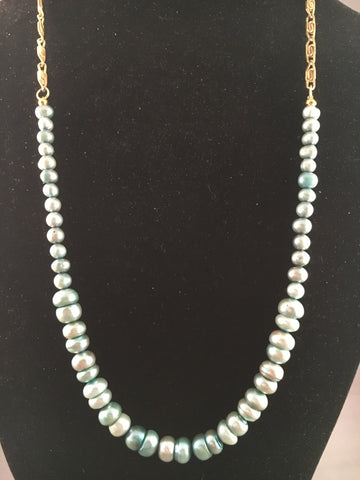 Blue Pearl Necklace with Gold Chain