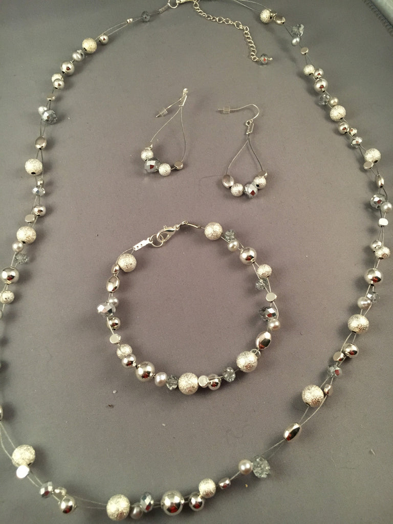 Necklace set of silver and sparkly beads