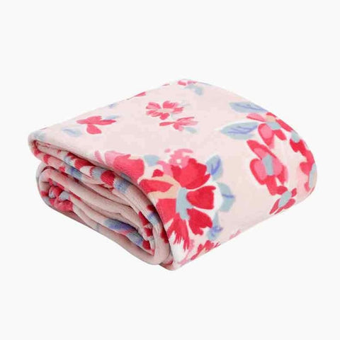 Plush Throw Blanket in Pretty Posies Pink
