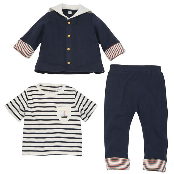 Navy Nautical Sailor Three-Piece Set